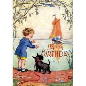 Boy and Scottie Dog Awaiting Birthday Boat   Birthday