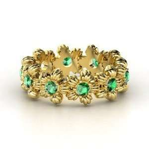 Lei Eternity Ring, 14K Yellow Gold Ring with Emerald