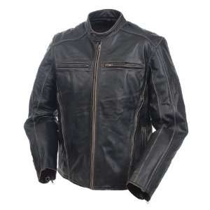 Mossi Mens Drifter Premium Leather Jacket 50 Antique Black