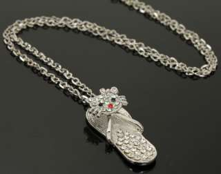 Swarovski crystals hello kitty slippers shoes pendant chain necklace