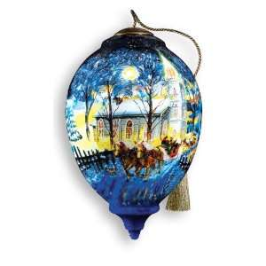 Midnight Clear Hand Painted Glass Ornament