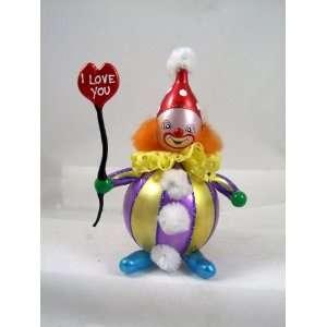 RADKO FOOL FOR LOVE Clown Heart Valentine Glass Ornament