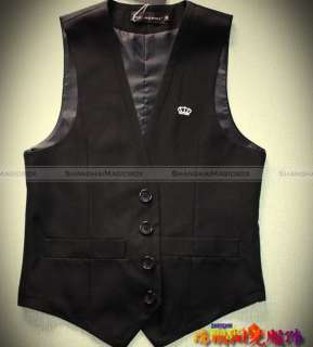 Men Fashion Simple Slim Fit Suit Vest Sleeveless Waistcoat Black New