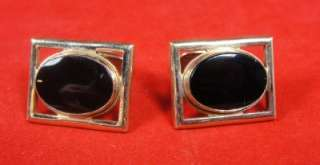 Vintage Mens Simmons Gold Black Glass Oval Deco Cufflinks & Tie Bar