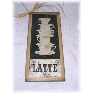 Latte Stacked Coffee Mugs Kitchen Sign Cafe Decor Art