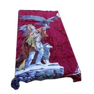 Mink Blanket   Indian, Eagle, Dog Print   Burgundy