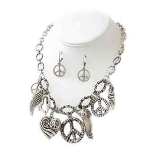 Silvertone Peace Charm Necklace and Earrings Set Fashion