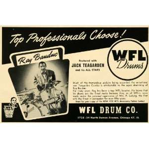 1952 Ad WFL Drums Ray Banduc Jack Teagarden All Stars