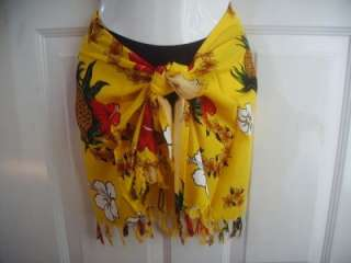 SARONG FLORAL SHORT COVER UP SCARF FRINGE GOLD RED PINEAPPLE XS S M