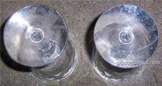 Set of Two Vintage Floral Etched Red Wine Glasses. Glasses are 7 high