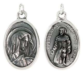 Sterling Silver Virgin Mary and St. Peregrine 15/16 X 5/8 (24 mm X 16