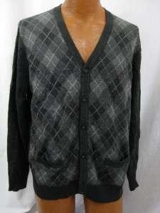 NEW Merona Mens Gray Argyle Cardigan Sweater Size Large