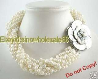 rows white freshwater pearl twist necklace