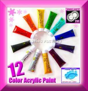 12 COLOR 3D NAIL ART PAINT Brush Pallet Acrylic Gel 105