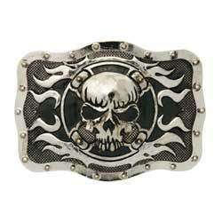 Skull Cross Flame Trophy Belt Buckle Men Valentine Gift
