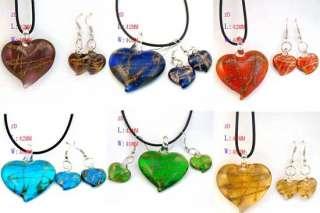 g335 Rare 6 Color Love Murano Lampwork Glass Heart Pendant Necklace
