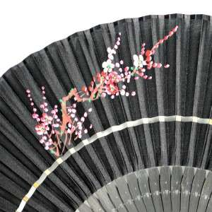 SILK HAND FAN Folding Pocket Purse Sensu Black Hand Painted Sakura