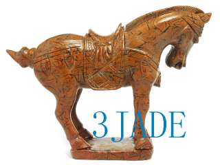 Natural Jasper /Bamboo Stone Carving Chinese Tang Horse Statue