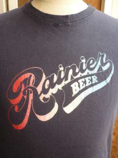 COOL VTG 70s Rainier BEER Champion Blue Bar T Shirt size XL