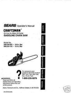 Craftsman Chain Saw Manuals Model # 358.351081