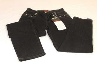 Women Cos Jeans Petite Black Studded Rhinestone Trim 4P