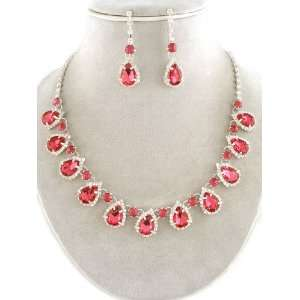 Fashion Jewelry ~ Pink Fuschia Crystal Gems Accent with Clear Crystals