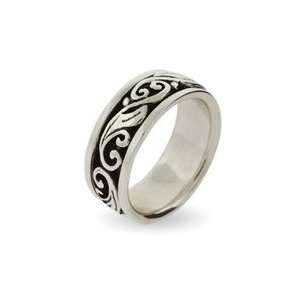Engravable Sterling Silver Spinner Ring with Scroll Design: Jewelry