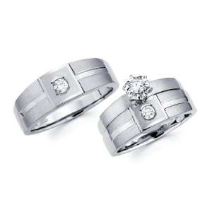14K White Gold Round cut Diamond Men and Womens Engagement Ring