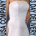 Sasha Beaded Organza Strapless Wedding Dress Gown Size 18 White