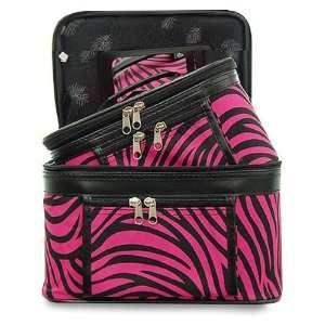 Case Cosmetic Toiletry 2 Piece Luggage Set Hot Pink Black Zebra Print