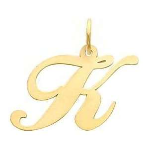 Fancy Cursive Letter K Charm 14K Gold: Jewelry
