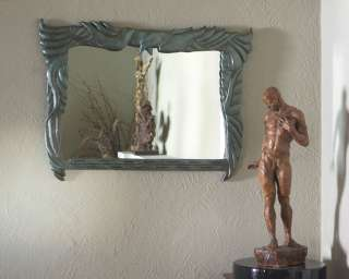 Art Deco Birds Art Accent Wall Mirror ~ Antiqued Green