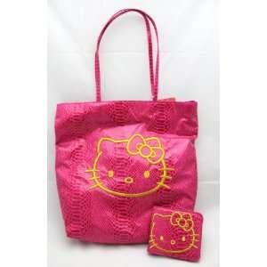 HELLO KITTY Python Tote Shopper Bag & Bifold Slim Wallet Set