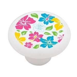 Retro Flower Design Decorative High Gloss Ceramic Drawer Knob