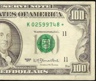 1977 $100 DOLLAR BILL FEDERAL RESERVE STAR NOTE DALLAS Fr 2168 K* EF