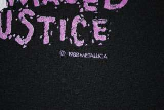 VINTAGE METALLICA DAMAGED JUSTICE T  SHIRT 1988 XL