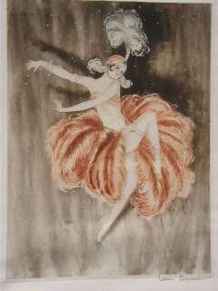 ORIGINAL c1930 SIGNED FRENCH DANCING GIRL ETCHING ART DECO school of