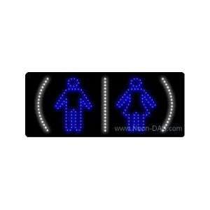 Restrooms Symbols LED Sign 11 x 27 Home Improvement