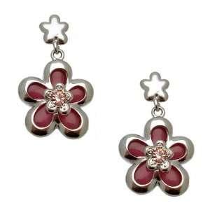 Acosta Jewellery   Dusky Dark Pink Flower Earrings with