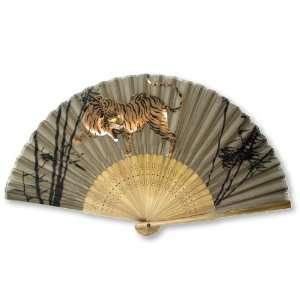 Tiger Painted Bamboo Wood Oriental Silk Folding Fan