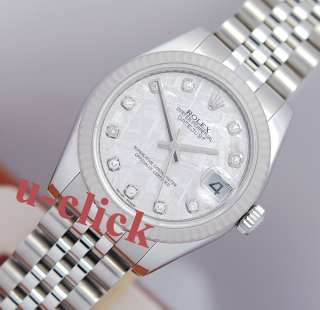 2010 Midsize 31mm ROLEX Datejust METEORITE DIAMOND DIAL 18k Steel