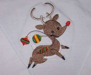 Rudolph Red Nosed Reindeer Embroidery Long Sleeve Baby Toddler