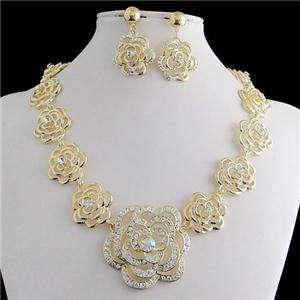 Elegant Rose Flower Necklace Earring Set Clear Swarovski Crystal