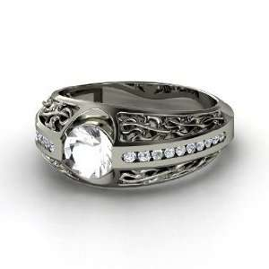 Vintage Romance Ring, Round Rock Crystal Sterling Silver