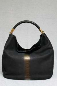 YSL YVES SAINT LAURENT Leather Large Roady Snake Gold Embossed Tote