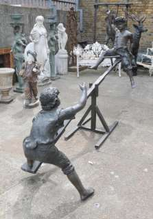 Bronze Art Sculpture Boys See Saw Statue Garden