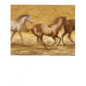 Wallpaper Border Running Wild Horses on Tan Kitchen