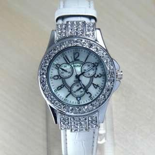Girl Fashion Diamond Crystal leather lady Quartz Watch