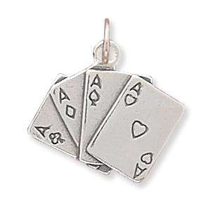 925 Sterling Silver Playing Cards Poker Hands Charms