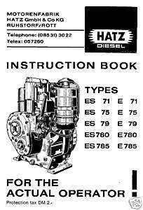 Hatz Diesel Engine Manual Instruction Spare Parts List, ES, E, 71,79